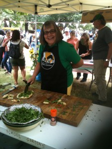 Pizzas were topped with fresh garden ingredients and made by students and volunteers on-site.